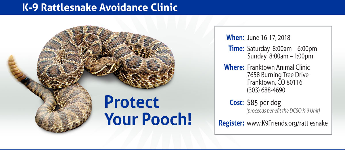 Protect Your Pooch, K-9 Rattlesnake Avoidance Clinic: June 16-17, 2018